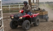 Farmer driving red TRX500 Foreman to stable while hauling log cart