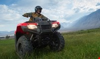 Rider operating a red TRX420 viewed from below angle, on a farm acreage set among rolling mountains