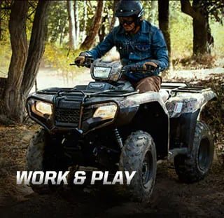 """Honda's line of ATVs has earned a solid and well-deserved reputation for being some of the most durable ATVs on the planet"" - quote by Outdoorlife.com. Image of rider in denim shirt driving through thick muddy trail in the forest."