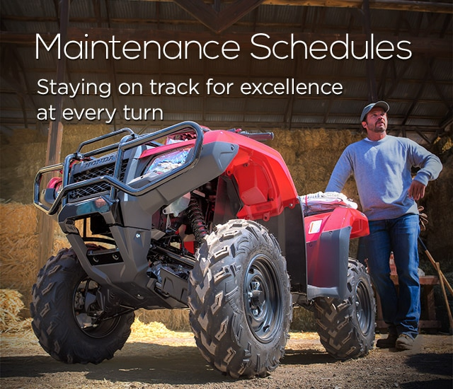 Maintenance Schedules. Staying on track for excellence at every turn. Man standing beside an ATV.