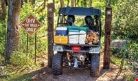 The compact Pioneer 500 viewed from behind, scaling through a narrow gate on a tight forest trail carting firewood, coolers and other gear