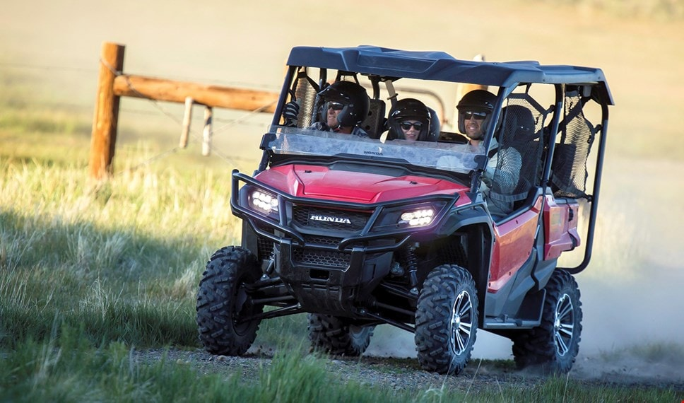 The Pioneer 1000-5's durable steel front bumper and LED headlight