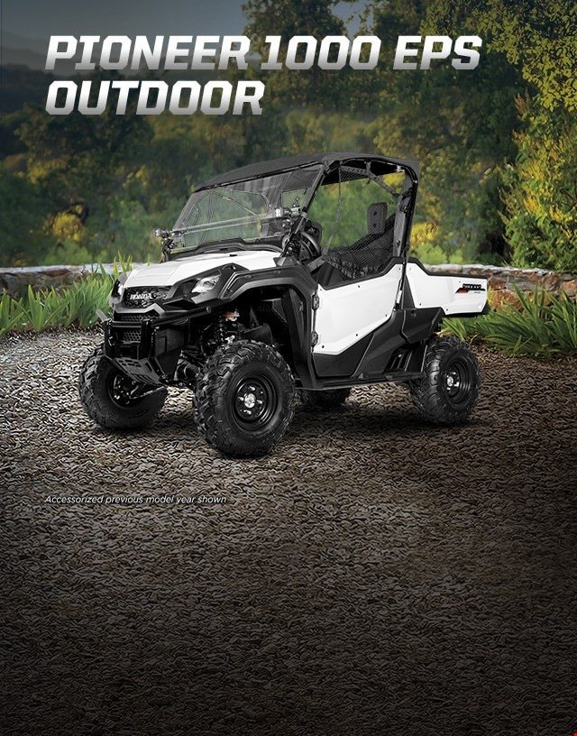 Pioneer 1000 EPS Outdoor. Go beyond extraordinary. Rugged side-by-side with fabric roof and windshield overlooking lush green vista