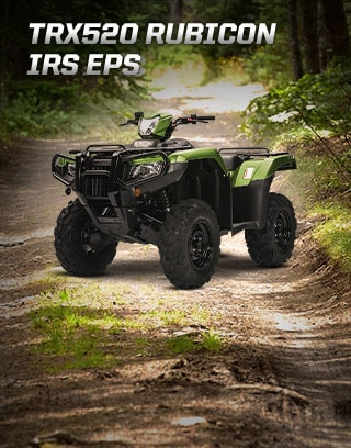TRX500 Rubicon IRS EPS. Champion the trails. Image of rider confidently speeding through dirt trail.